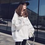 【tops】一目惚れ配色フード付きファッションパーカー15672320