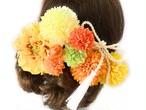 黄色オレンジ色*ダリアとマムの8点セット髪飾り
