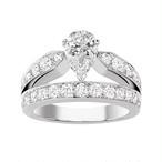 モアサナイト ペアシェイプ 1カラット ダイヤモンド 18k リング 指輪 婚約指輪