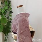 正絹ちりめん 桑の実色の江戸小紋 袷