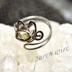 宝石猫のリング*シトリン/チタン【受注生産】