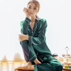 【パジャマ】カジュアル無地ボタン折り襟長袖上下セット29026590
