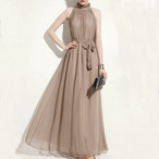 【dress】パーティーワンピースエレガント袖なしリボン絞り上品
