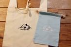 MOGURA登山のエコバッグ&コットン巾着セット(水色)