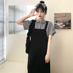 【送料無料】モノクロ楽ちんスタイル♡2点セット セットアップ モノクロ ブラウス ワンピース カジュアル