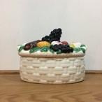 フルーツ盛合せフタ付き陶器の小物入れ  Vintage Faiancas Belo portugal