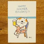 夏ねこポストカード 海とビール[NNPC-08]