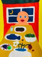 【8/29-9/8期間限定!菊沢将憲最初期絵画展作品】  赤ちゃんのごはん  230mm×310mm白い額縁付き