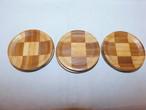 市松コースター(6客) wooden Japanese tea six saucers(No29)
