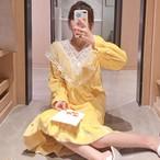 【468円値下げ】【パジャマ】韓国系キュート長袖スウィートパジャマ25201843