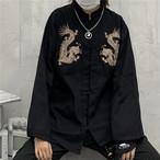 チャイナ風トップス アウター ブラウス シャツ チャイナ風服 改良唐装 改良漢服 女子会 同窓会 普段着 中華服 スタンドネック 長袖 ブラック 黒い レッド 赤い 可愛い 個性的