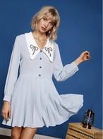 【sister jane】Mini Dress with Ruffle Bow collar