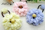 手編み ふんわりボリュームお花のヘアゴム