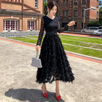 フェザーロングドレス ワンピース ドレス ロング丈 Vネック レース フェザー ゴージャス 大人エレガント パーティー お呼ばれ