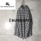 [BURBERRY] black×white checked shirt