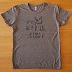 Tシャツ「Love cats Love dogs 1」ヘザーブラウン