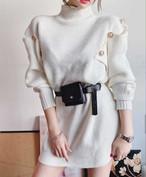 ボタンアームスリットニットワンピース ワンピース 韓国ファッション