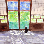 絵画 インテリア アートパネル 雑貨 壁掛け 置物 おしゃれ 水彩画 創作 猫 ネコ ねこ 動物 ロココロ 画家 : 北原 千 作品 : 木漏れ日