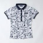【レディース】ロゴMIX総柄ポロシャツ ホワイト