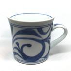 【砥部焼/梅山窯】マグカップ・反り(唐草)