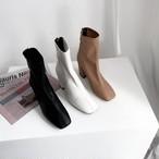 予約注文商品 トゥースクエアバックジップブーツ ブーツ ブーティー 韓国ファッション