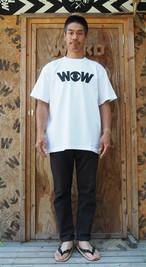 WOWベーシックロゴ Tシャツ 白x黒プリント(送料込み)