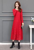 総レースロングドレス 大きいサイズ ワンピース ドレス レース ロング丈 裏起毛 長袖 上品 ミセス 30代 40代 50代