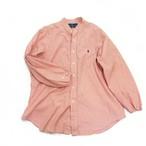 【USED】リメイク ラルフローレン ビッグサイズ バンドカラーシャツ オレンジ ギンガムチェック XL