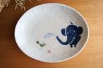 砥部焼/楕円皿(大)/青いぞうさん/きよし窯