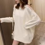 【tops】ビーズ飾りベアトップニットセーター