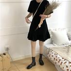 【dress】フィッシュテール無地学園風透かし彫りラウンドネックワンピース