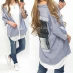 ストライプ柄 バクプリ Frontロゴ ストリートシャツ