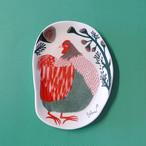 新商品《鳥/にわとり》 小皿  裏庭の草むらの鶏 morita MiW ニワトリ 化粧箱入り