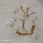 正絹 白地に鶴の刺繍の帯揚げ