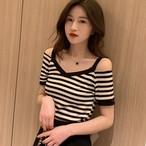 【tops】 Vネックファッションストライプ柄Tシャツ21008813