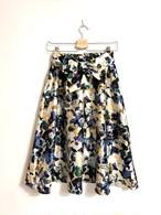 再入荷★シャンタン素材風リボン付き花柄スカート ブルー
