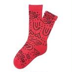 """""""ペイズリー -red-"""" Socks"""