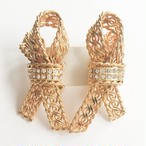 gold & rhinestone ribbon earring[e-985]