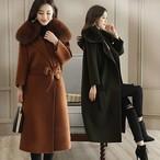 ロングコート レディース コート 大きいサイズ シャギーコート エコファー 送料無料 カクテルコート ウールコート 暖かい 冬