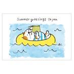 夏ねこポストカード 浮き輪で読書[NNPC-05]