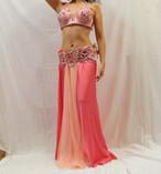 ベリーダンス衣装 ターキッシュスタイル ピンク ブラベルト、スカート、飾り付