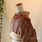 正絹紬 焦げ茶に絞りの小紋 単衣