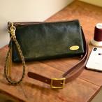 『1枚革の手縫い』2wayショルダー&クラッチバッグ(国産シュリンクレザー)全3色