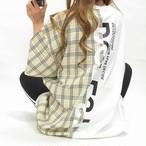 チェック柄 ドッキング配色切り替え バックロゴ BIGTシャツ wh×bg