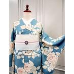 単衣*ターコイズブルー 薔薇柄 アンティーク小紋キモノ 0299