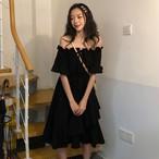 【dress】韓国系ファッション無地スピーカースリーブデートワンピース21092597