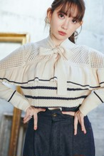 Romantic Pussy-bow Striped Top