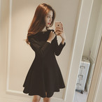 【dress】合わせやすい黒ワンピースAラインスリムデートワンピース