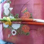 正絹帯締め 丸組白地に多色づかい