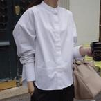 長袖 ホワイトシャツ スタンドカラー ドロップショルダー